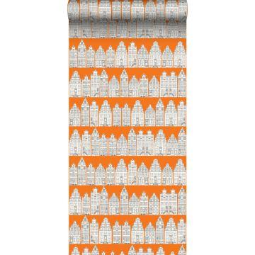 Tapete Amsterdamer Grachtenhäuser Orange und Weiß von ESTA home