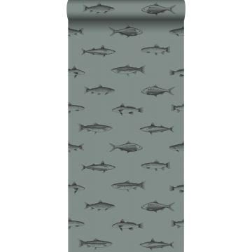 Tapete Federzeichnung Fisch Graugrün und Schwarz von ESTA home