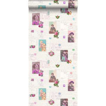 Tapete vintage Postkarten Rosa und Türkis von ESTA home