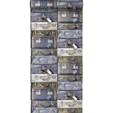Tapete Vintage Koffer Blau und Braun von ESTA home
