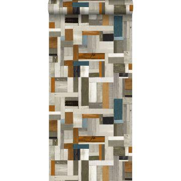 Tapete Holz-Optik Grau, Braun und Graublau von ESTA home