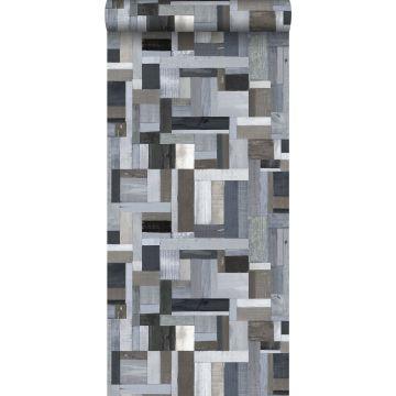 Tapete Holz-Optik Blau und Grau von ESTA home