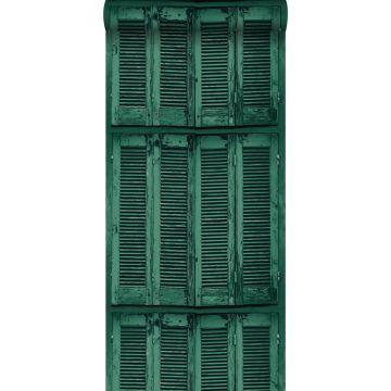 Tapete verwitterte, französische, vintage Fensterläden Smaragdgrün von ESTA home