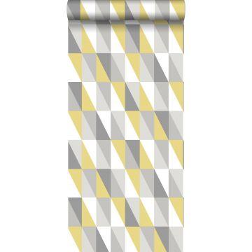 Tapete grafische Dreiecke Ockergelb und Grau von ESTA home