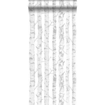 Tapete Birkenstämme Silber und Weiß von ESTA home
