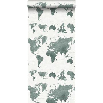 Tapete vintage Weltkarten Graugrün von ESTA home