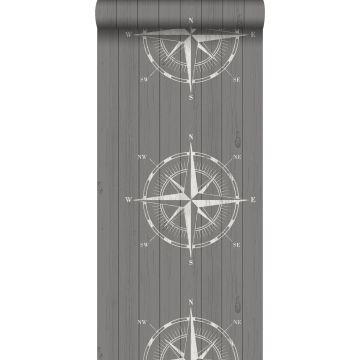 Tapete Kompassrose auf Altholz Weiß und Grau von ESTA home