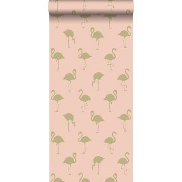 Tapete Flamingos Gold und Pfirsichrosa von ESTA home