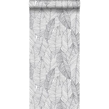 Tapete gezeichnete Blätter Schwarz und Weiß von ESTA home
