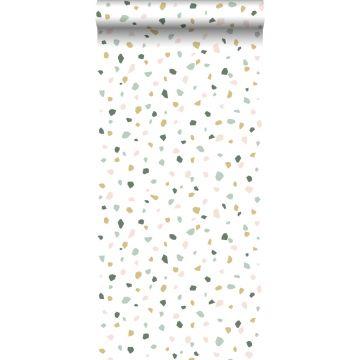 Tapete Terrazzo-Motiv Weiß, Hellrosa und Mintgrün von ESTA home