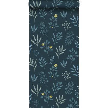 Tapete Blumenmuster im skandinavischen Stil Dunkelblau und Ockergelb von ESTA home