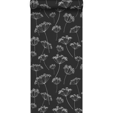Tapete Doldenblütler Schwarz-Weiß von ESTA home