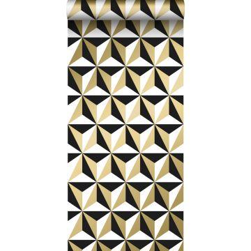 Tapete grafisches Motiv Gold, Weiß und Schwarz von ESTA home