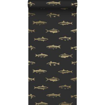 Tapete Federzeichnung Fisch Schwarz und Gold von ESTA home