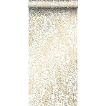 Tapete gezeichnete Blätter Weiß und Gold von ESTA home
