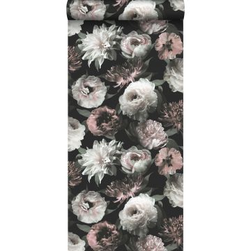 Tapete Blumen Schwarz, Weiß und Hellrosa von ESTA home
