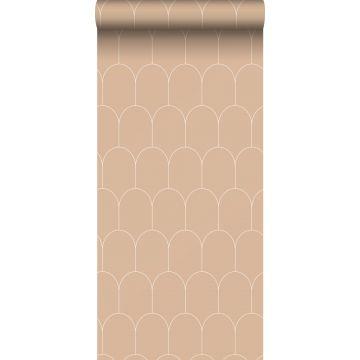 Tapete Art Decó Muster Pfirsichrosa und Weiß von ESTA home