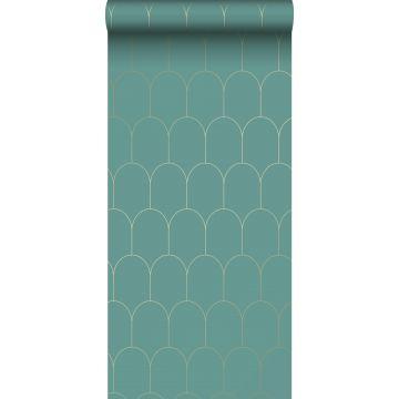 Tapete Art Decó Muster Meeresgrün und Gold von ESTA home