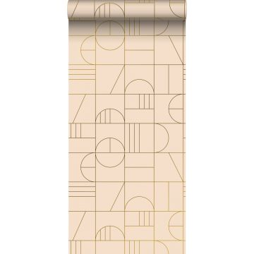 Tapete Art Decó Muster Pfirsichrosa und Gold von ESTA home