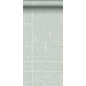 Tapete Art Decó Muster Mintgrün und Weiß von ESTA home