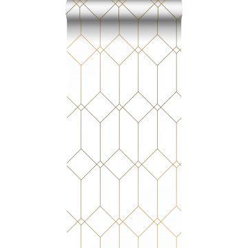 Tapete Art Decó Muster Weiß und Gold von ESTA home