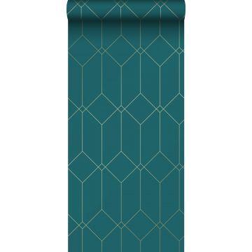 Tapete Art Decó Muster Gold, Grün und Blau von ESTA home
