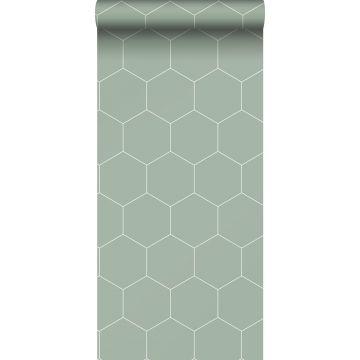 Tapete Sechseck Graugrün und Weiß von ESTA home