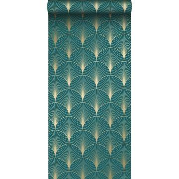 Tapete Art Decó Muster Petrolblau und Gold von ESTA home
