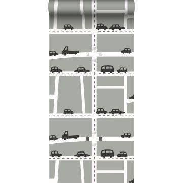 Tapete Autos Grau, Schwarz und Weiß von ESTA home