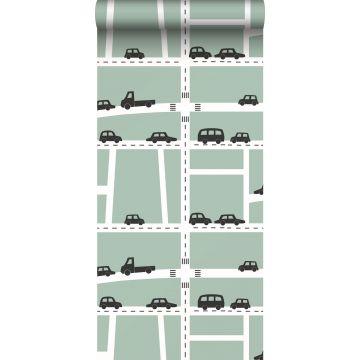 Tapete Autos Mintgrün, Schwarz und Weiß von ESTA home