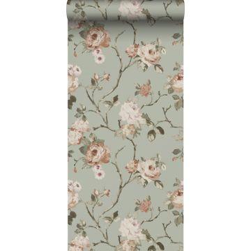 Tapete Blumenmuster Mintgrün und Hellrosa von ESTA home