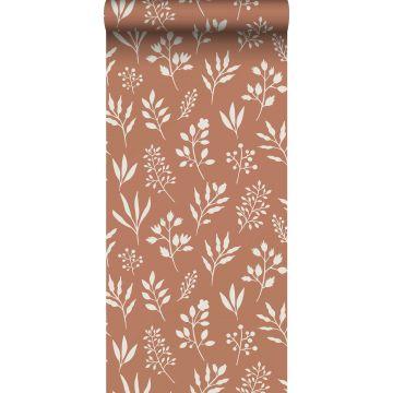 Tapete Blumenmuster im skandinavischen Stil Terracotta und Weiß von ESTA home