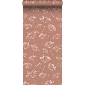 Tapete Doldenblütler Terracotta und Weiß von ESTA home