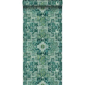 Tapete orientalisches Kelim-Patchwork Smaragdgrün von ESTA home