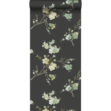 Eco Texture Vliestapete Kirschblüten Grün, Ockergelb und Schwarz von ESTA home