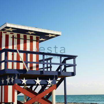 Fototapete Strandhaus-Motiv Rot, Weiß und Blau von ESTA home