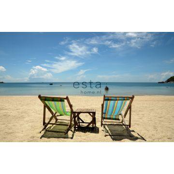 Fototapete Strand-Motiv Blau und Beige von ESTA home