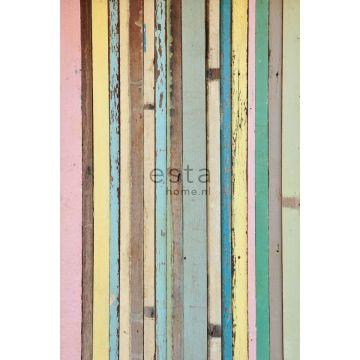 Fototapete Holz-Optik Hellrosa, Gelb, Blau und Grün von ESTA home
