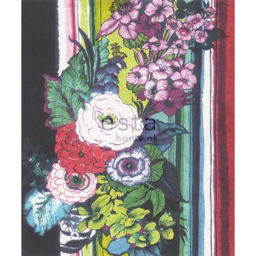 Fototapete Blumen Schwarz, Rot, Blau, Weiß und Grün von ESTA home