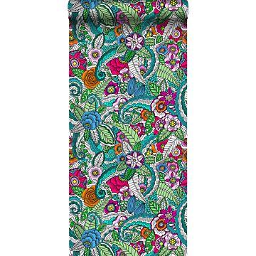 XXLVliestapete Blumenmandalas Rosa, Grün, Orange, Lila und Blau von ESTA home