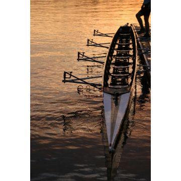 Fototapete Ruderboot bei Sonnenuntergang Braun und Orange von ESTA home