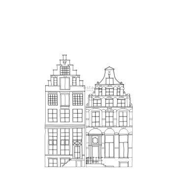 Fototapete gezeichnete Amsterdamer Grachtenhäuser Schwarz und Weiß von ESTA home