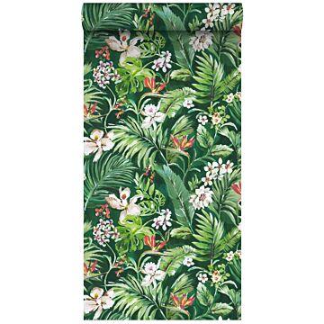 XXLVliestapete tropische Blätter und Blüten Emeraldgrün von ESTA home