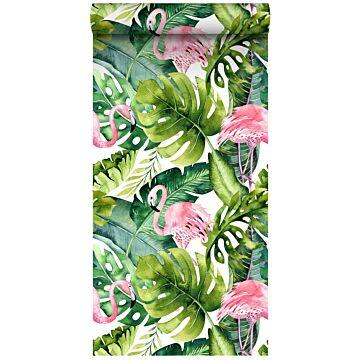 XXLVliestapete tropische Blätter mit Flamingos Grün und Rosa von ESTA home