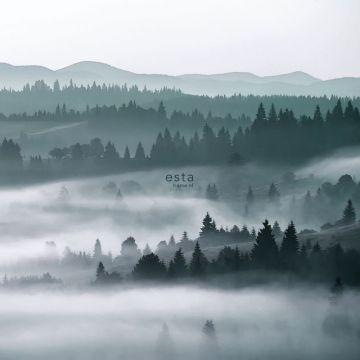 Fototapete neblige Bergen Grün von ESTA home