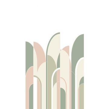 Fototapete Art Decó Muster Graugrün, Pfirsichrosa und Weiß von ESTA home