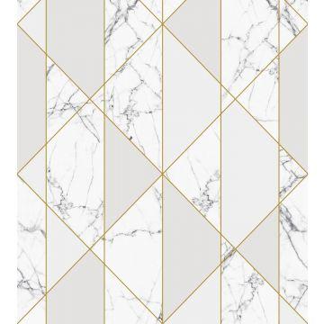 Fototapete Marmor-Optik Schwarz-Weiß, Grau und Gold von ESTA home
