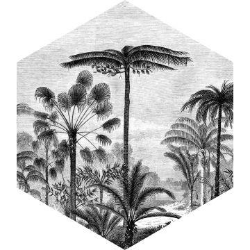 selbsklebende Wandtattoo tropische Landschaft mit Palmen Schwarz-Weiß von ESTA home
