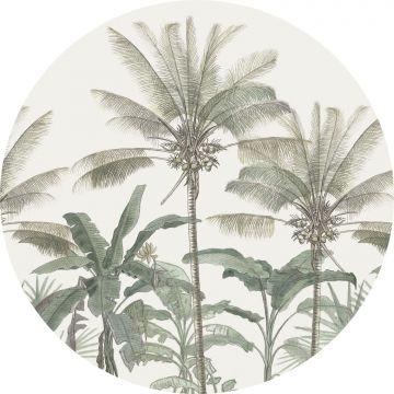 selbsklebende runde Tapete Palmen Hellbeige und Graugrün von ESTA home