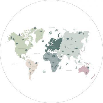 selbsklebende runde Tapete Weltkarte für Kinder Mintgrün, Grau und Rosa von ESTA home